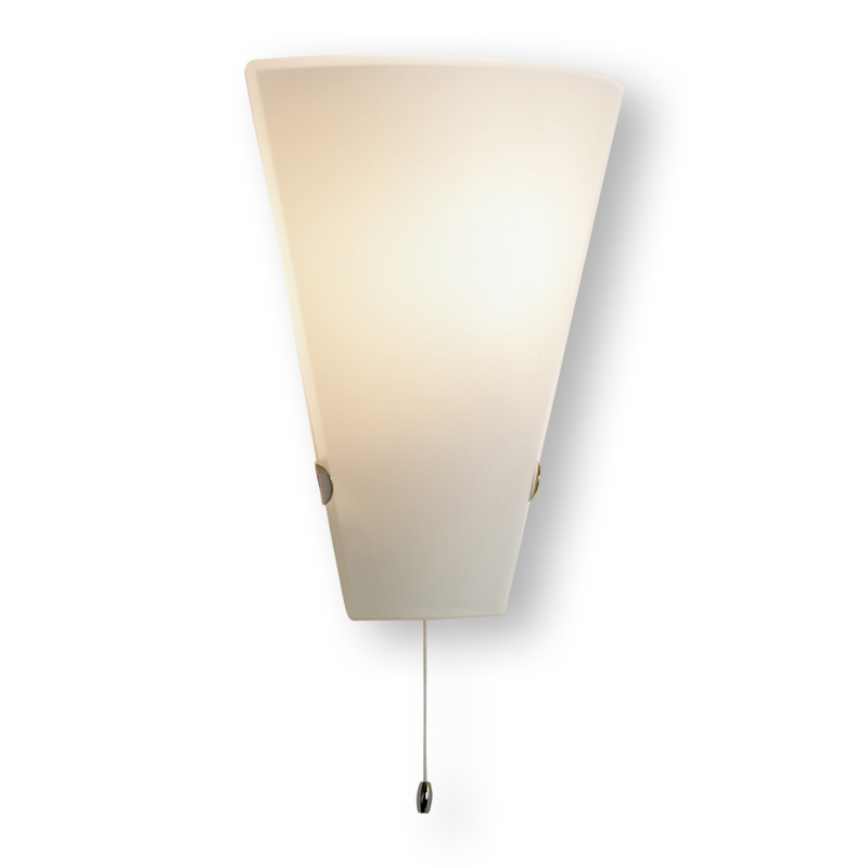 Glass Wall Lights With Pull Cord : Astro Taper White opal Glass 1x60W E27 GLS Living Wall Light with pull cord eBay