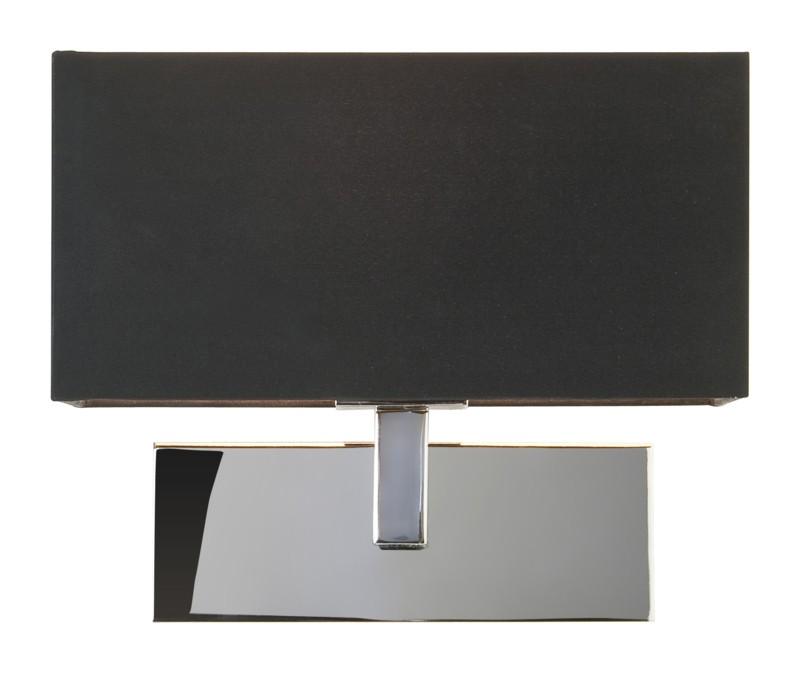 Nickel With Black Fabric Shade 60W E27 Wall Light