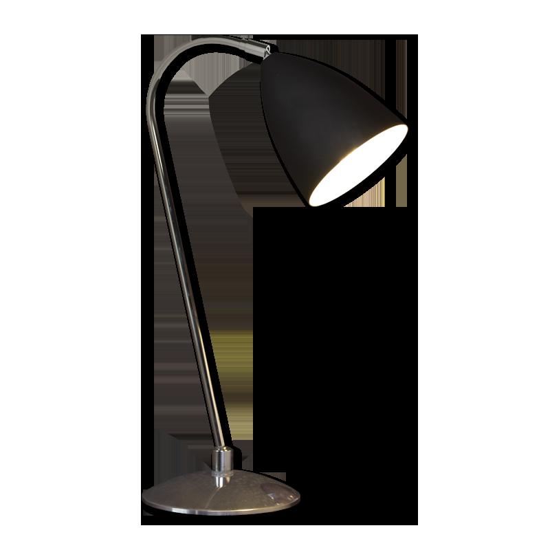 Chrome With Black Shade 60w E27 Double Insulated Desk Light