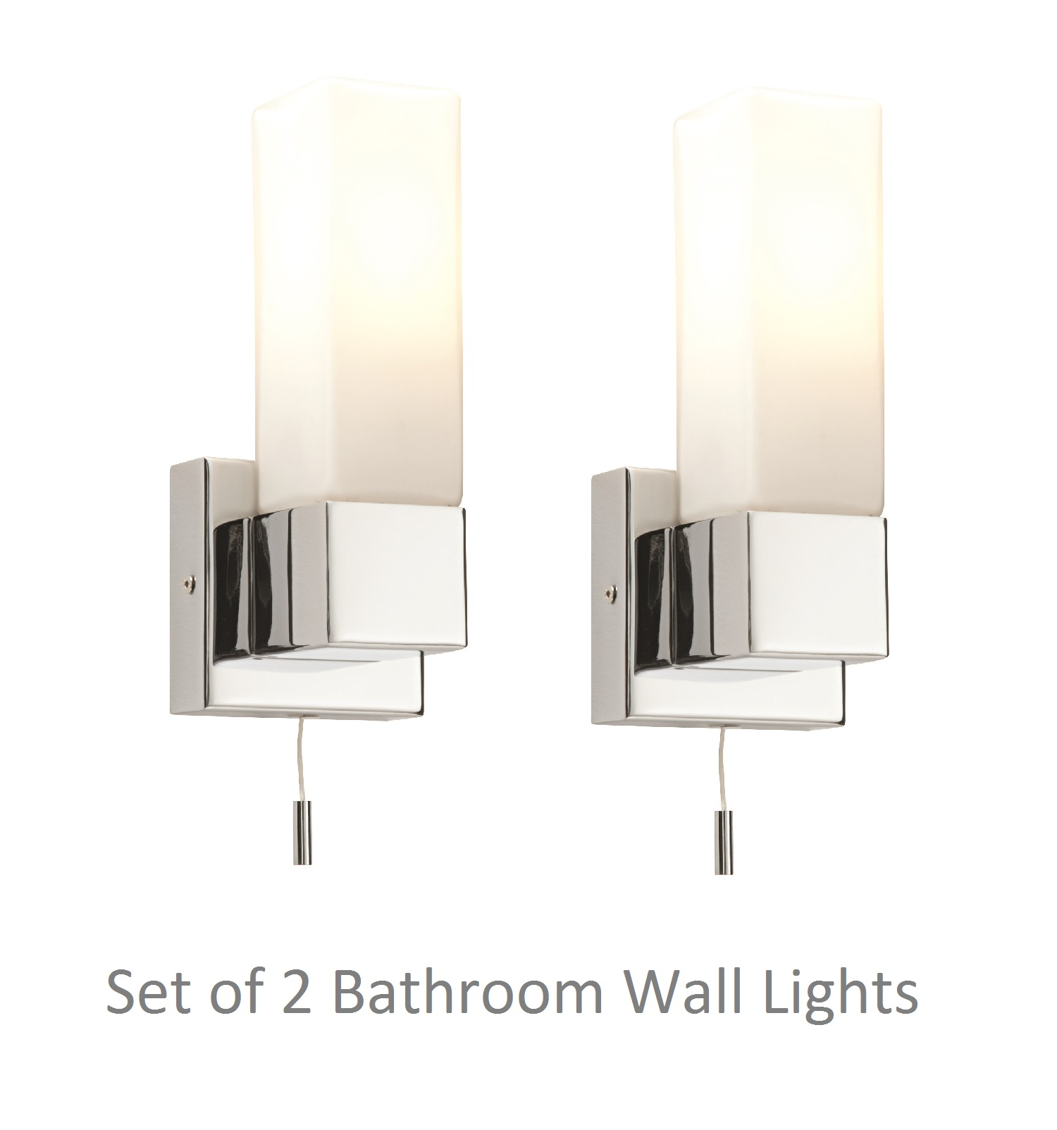 pair of modern chrome switched ip44 bathroom wall light w. Black Bedroom Furniture Sets. Home Design Ideas
