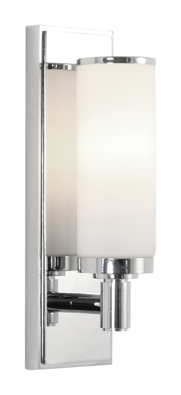 Astro Verona Polished Chrome With White Glass Art Deco Bathroom Wall Light Sconc Ebay