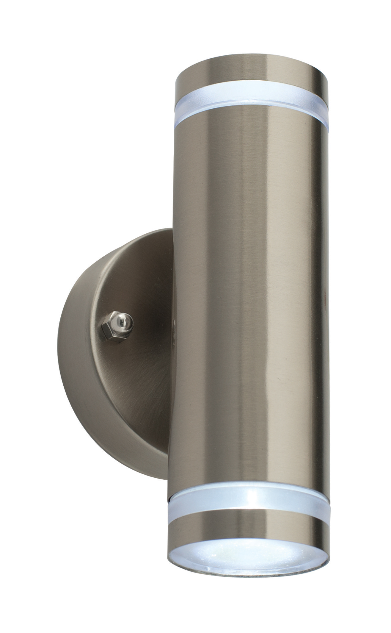 Low Energy Exterior Wall Lights : Saxby Aura IP44 stainless steel LED low energy up and down outdoor wall light