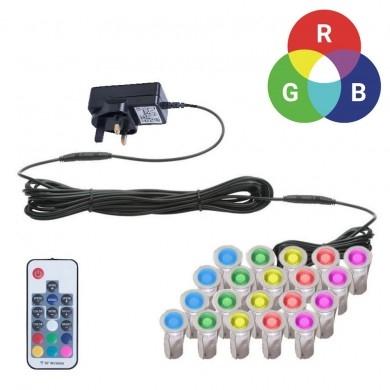 Set di 20-15mm RGB per Patio PONTE plinto LUCI IP67 LED Telecomando Cambia Colore