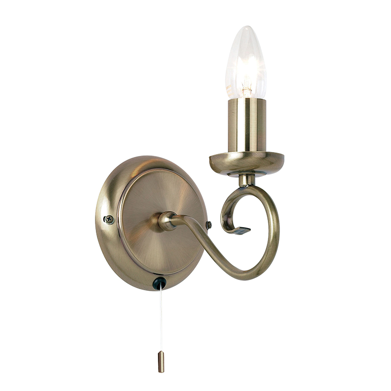 Single Pull Cord Wall Light with Antique Brass Effect