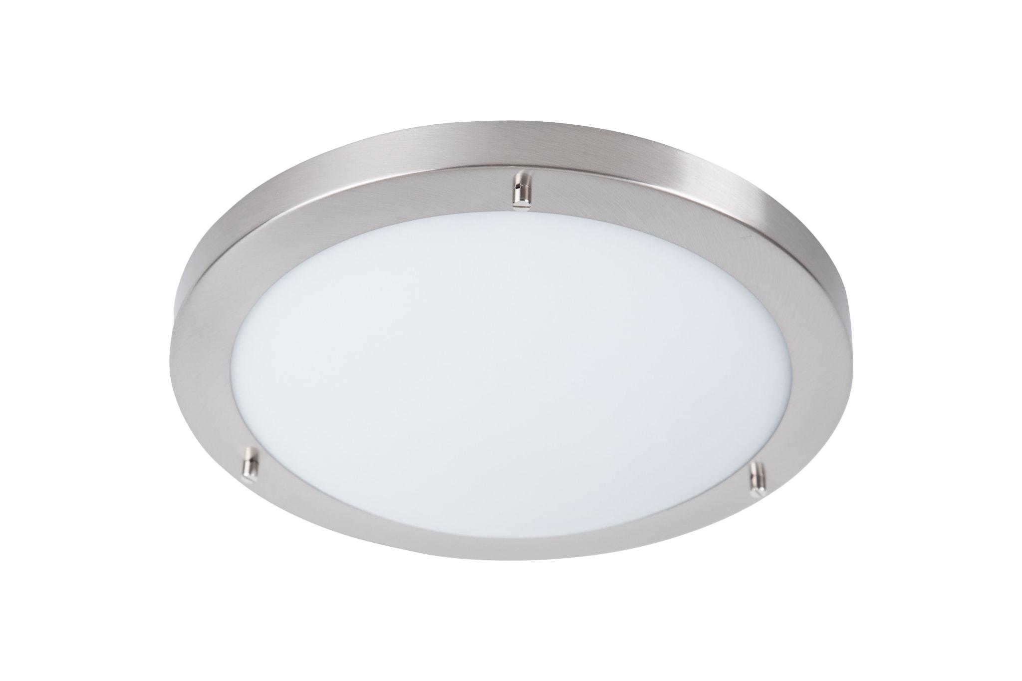 Modern Led Bathroom Ceiling Light Chrome Finish Ip44 Rated: Brushed Chrome Modern 16W Bathroom Flush Ceiling Light