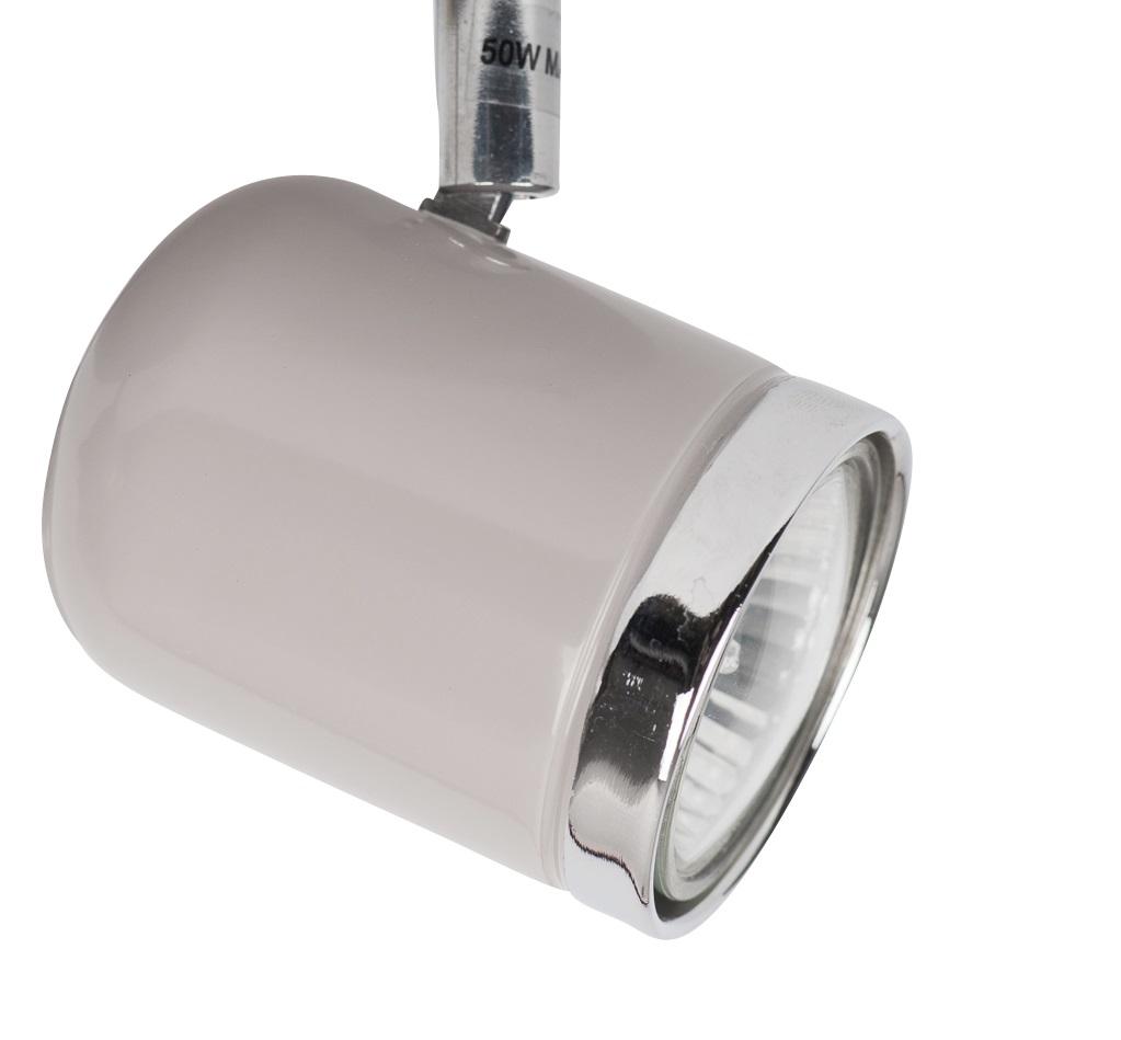 Pair Of Modern Taupe Grey & Chrome 3 Way Round Spotlight