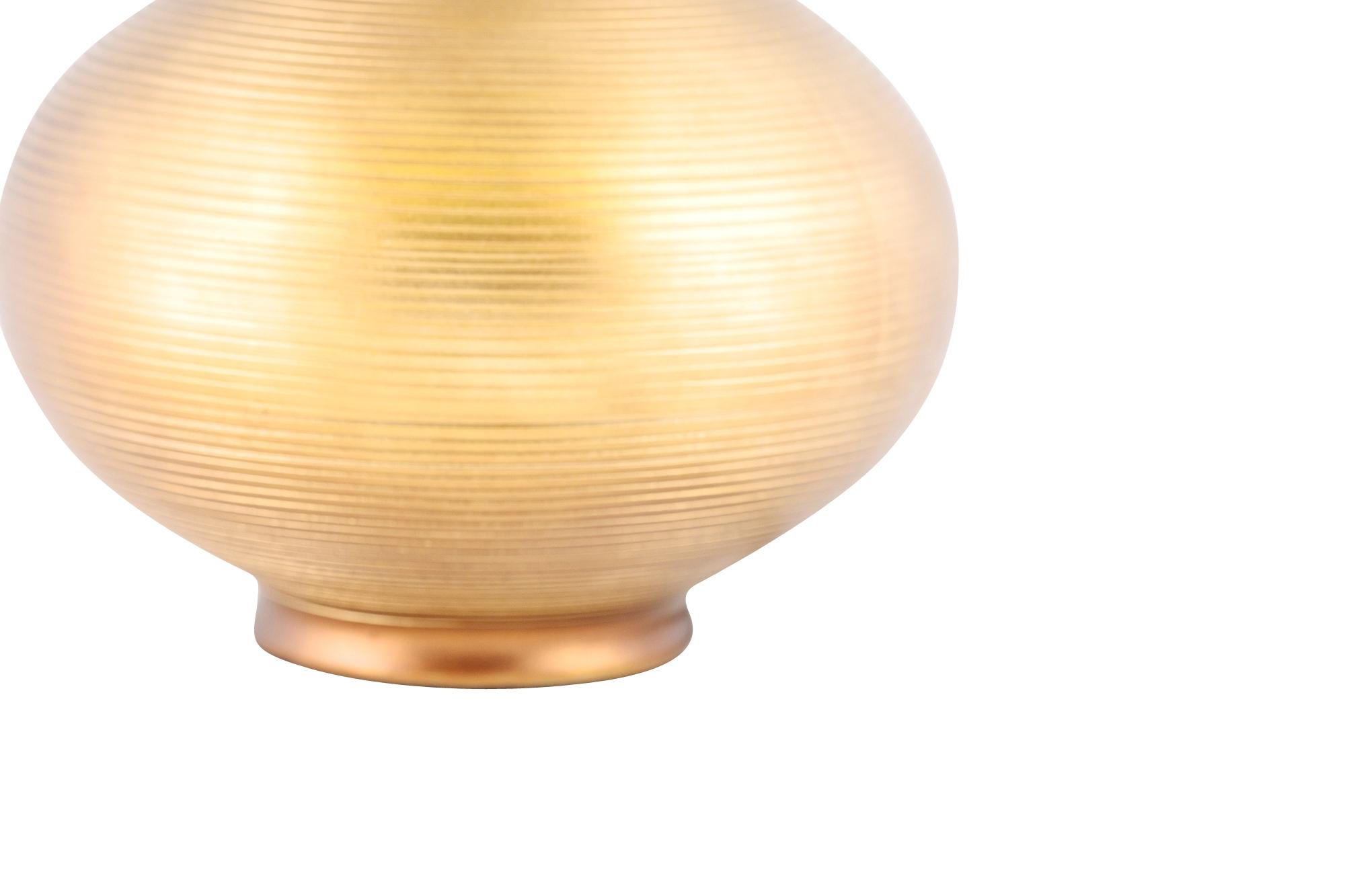 Modern Bronze Finish Ribbed Ceramic Table Lamp Bedside