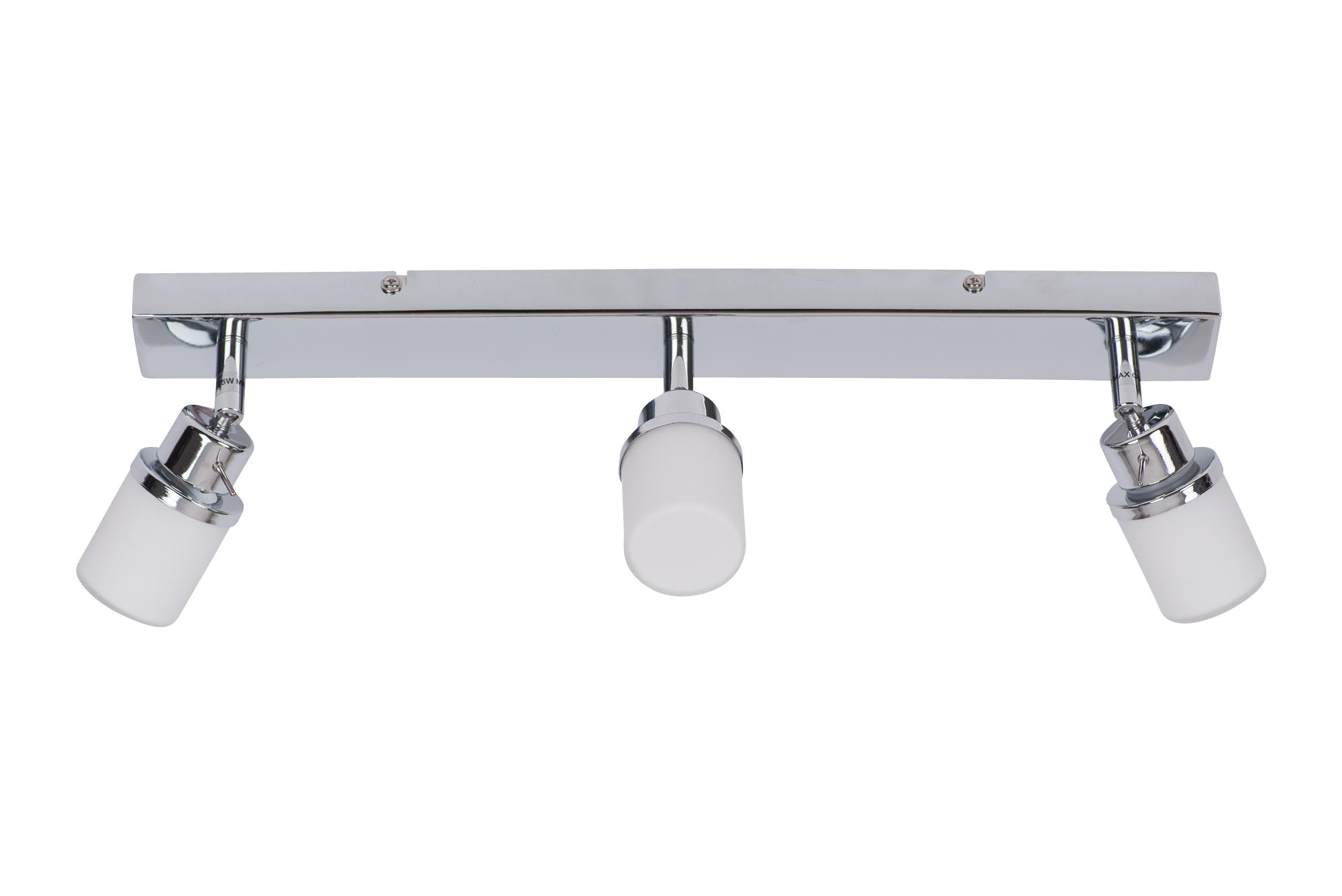Modern Led Bathroom Ceiling Light Chrome Finish Ip44 Rated: Modern Chrome & Glass 3 Way IP44 Bathroom Ceiling Spot