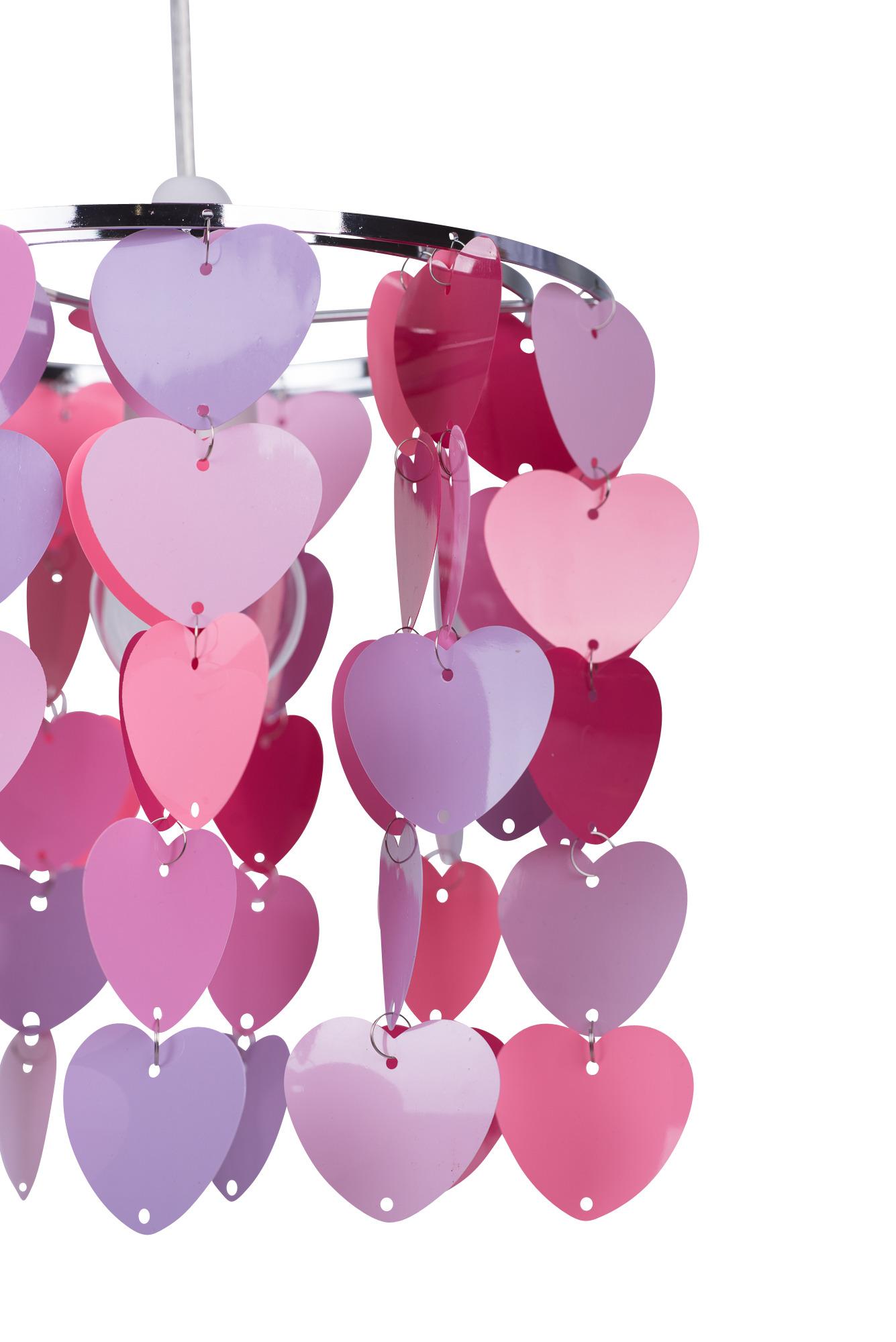 Modern Girls Kids Pink & Purple Hearts Ceiling Light ...