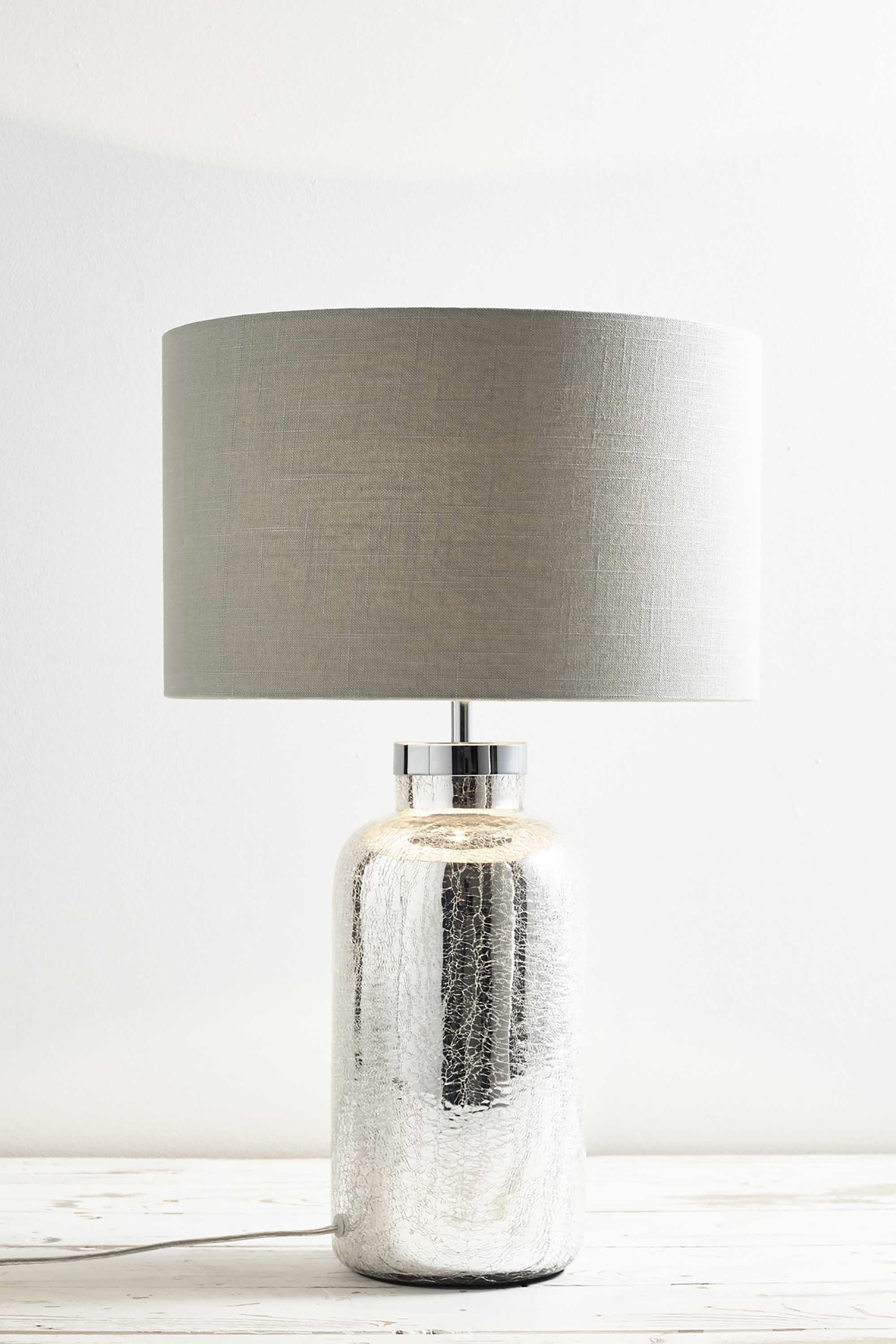 BHS Ulrica Table Lamp Mercury Bottle Light about Modern Bedside Glass Base Details wShade IYyv7gmbf6