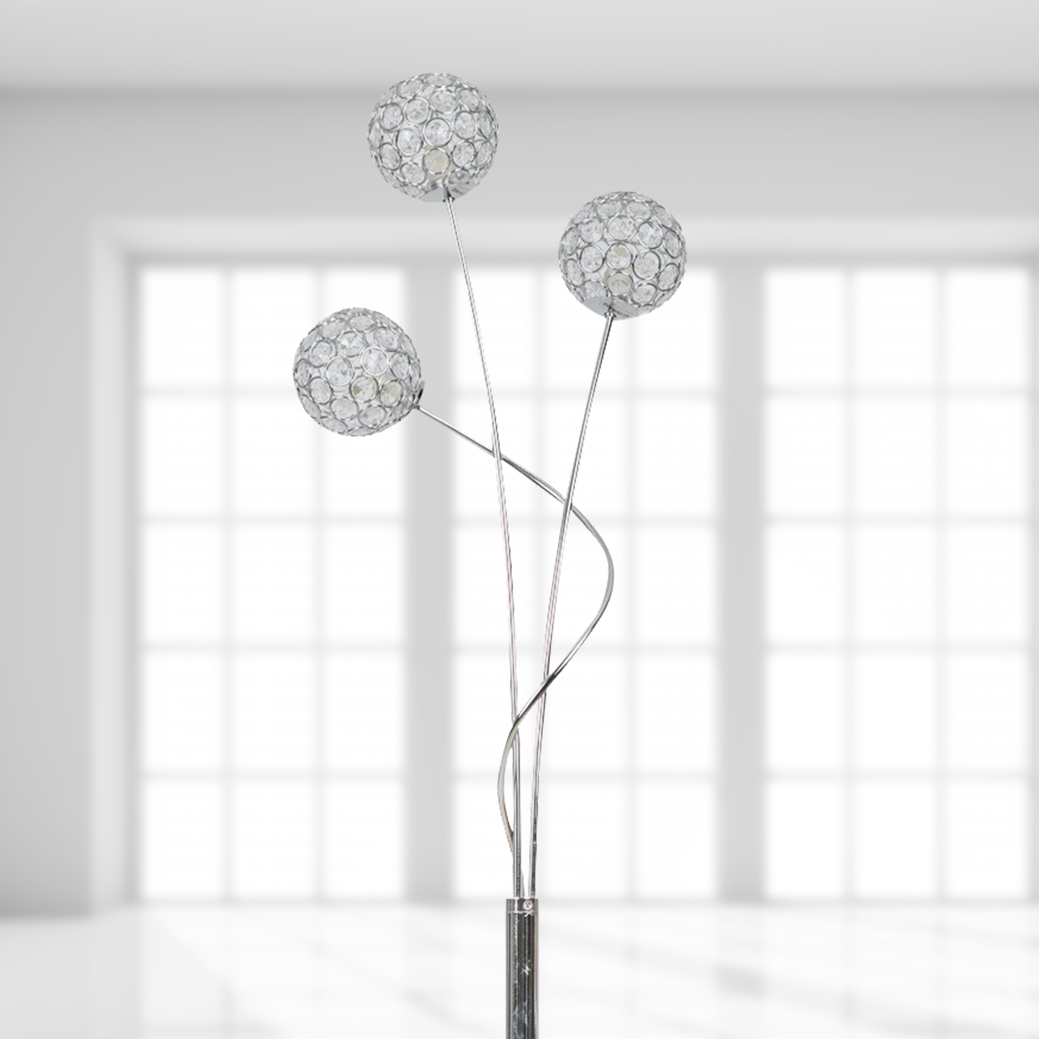 Contemporary 3 X 28w Chrome Amp Jewelled Sphere Shades Floor Stand Light Lamp Ebay