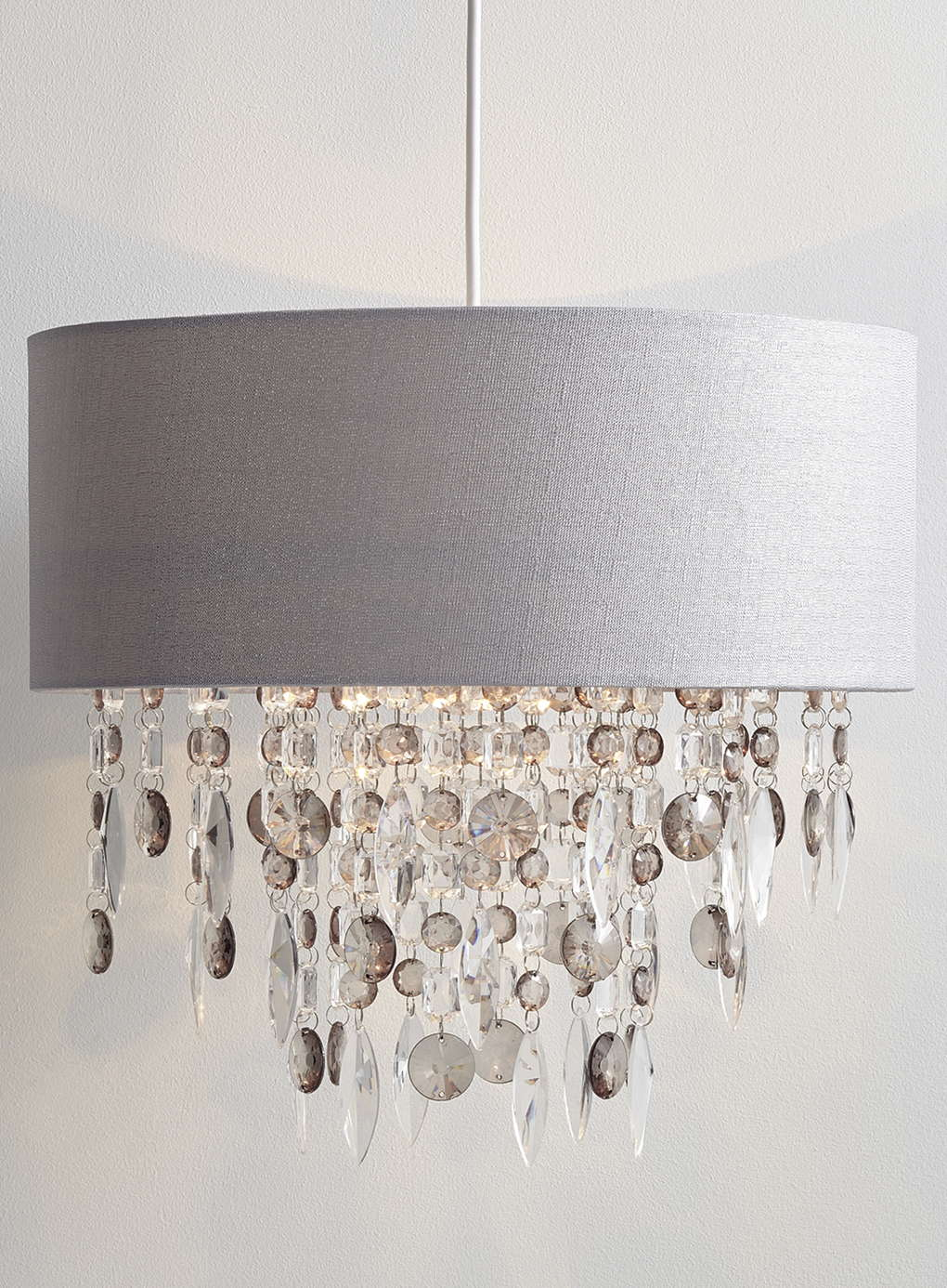 Modern Easy Fit Drum Shade Grey Fabric Ceiling Pendant Chandelier Light Shade Ebay