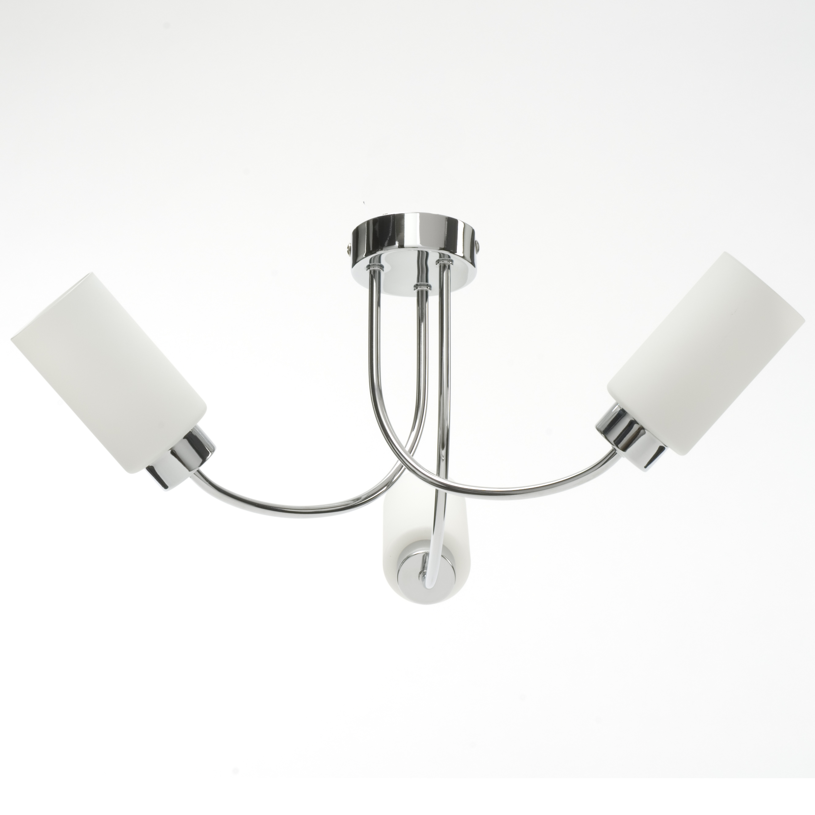 Modern Ceiling Lights Bar Lamp Silver Chandelier Lighting: Modern Silver Chrome And Opal Glass 3 Arm Ceiling Light