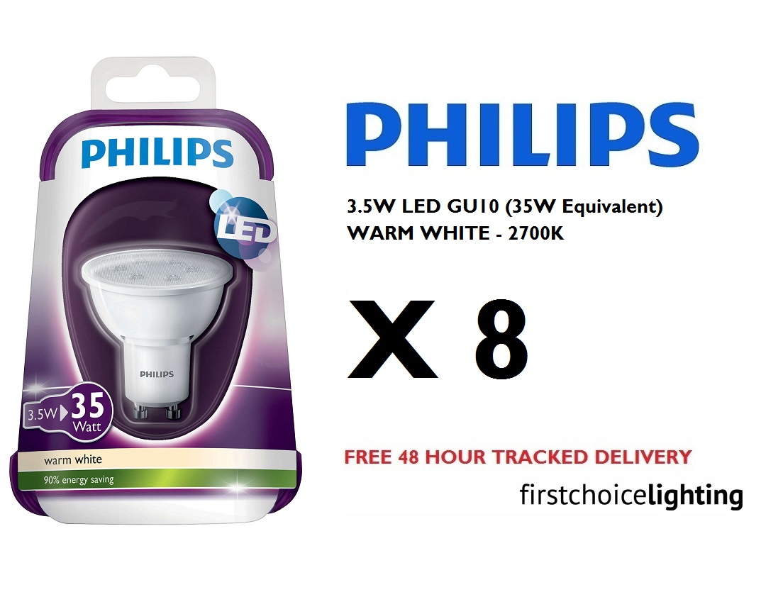 8 x philips 3 5w 35w low energy gu10 led spot lamps. Black Bedroom Furniture Sets. Home Design Ideas