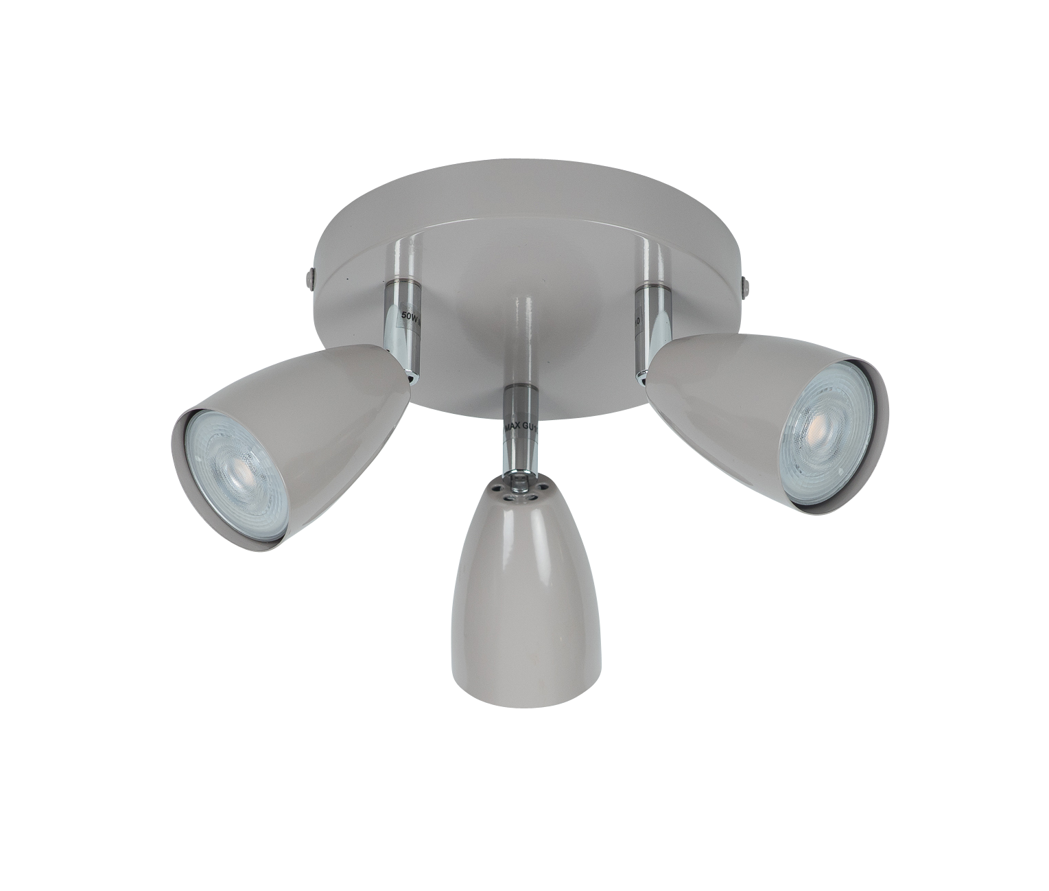 Taupe Grey With Chrome Detail 3 Way Spotlight Plate