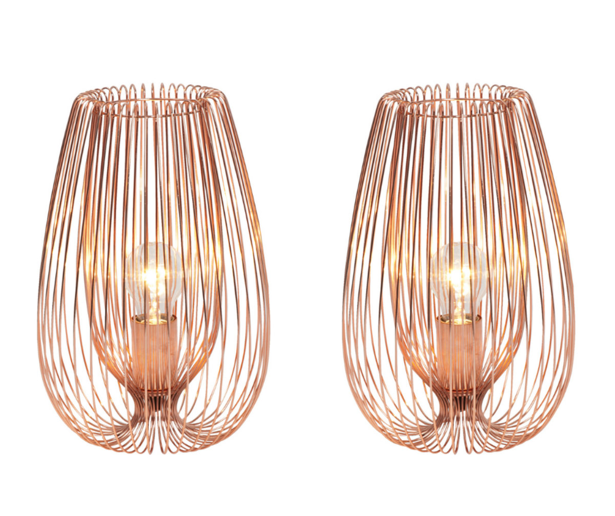 pair of set of 2 contemporary modern copper wire table bedside lights lamp ebay. Black Bedroom Furniture Sets. Home Design Ideas