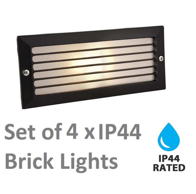 4 X Modern Outdoor Garden Recessed Wall Brick Light Black IP44 Rated EBay