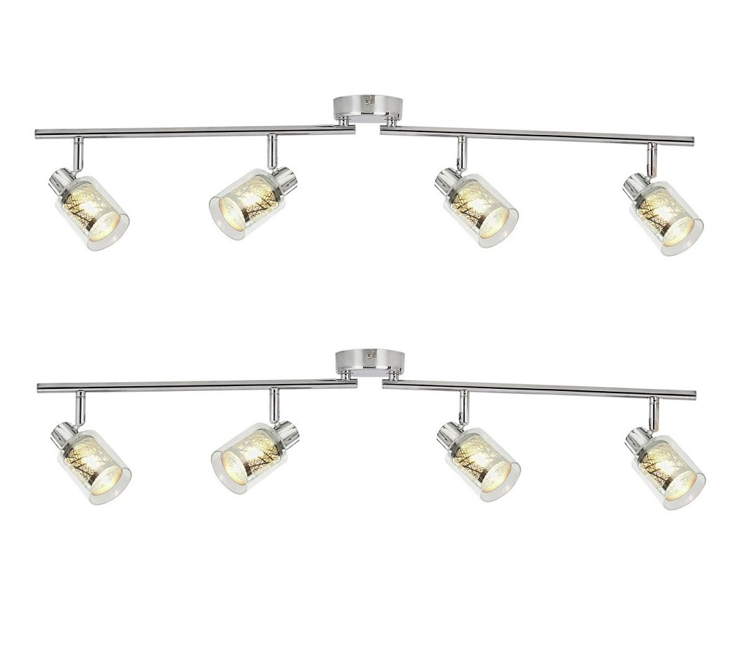 Large Modern Silver Chrome 6 Way Kitchen Ceiling Spot: Set Of 2 X Modern Chrome & Glass 4 Spotlight Ceiling Bar