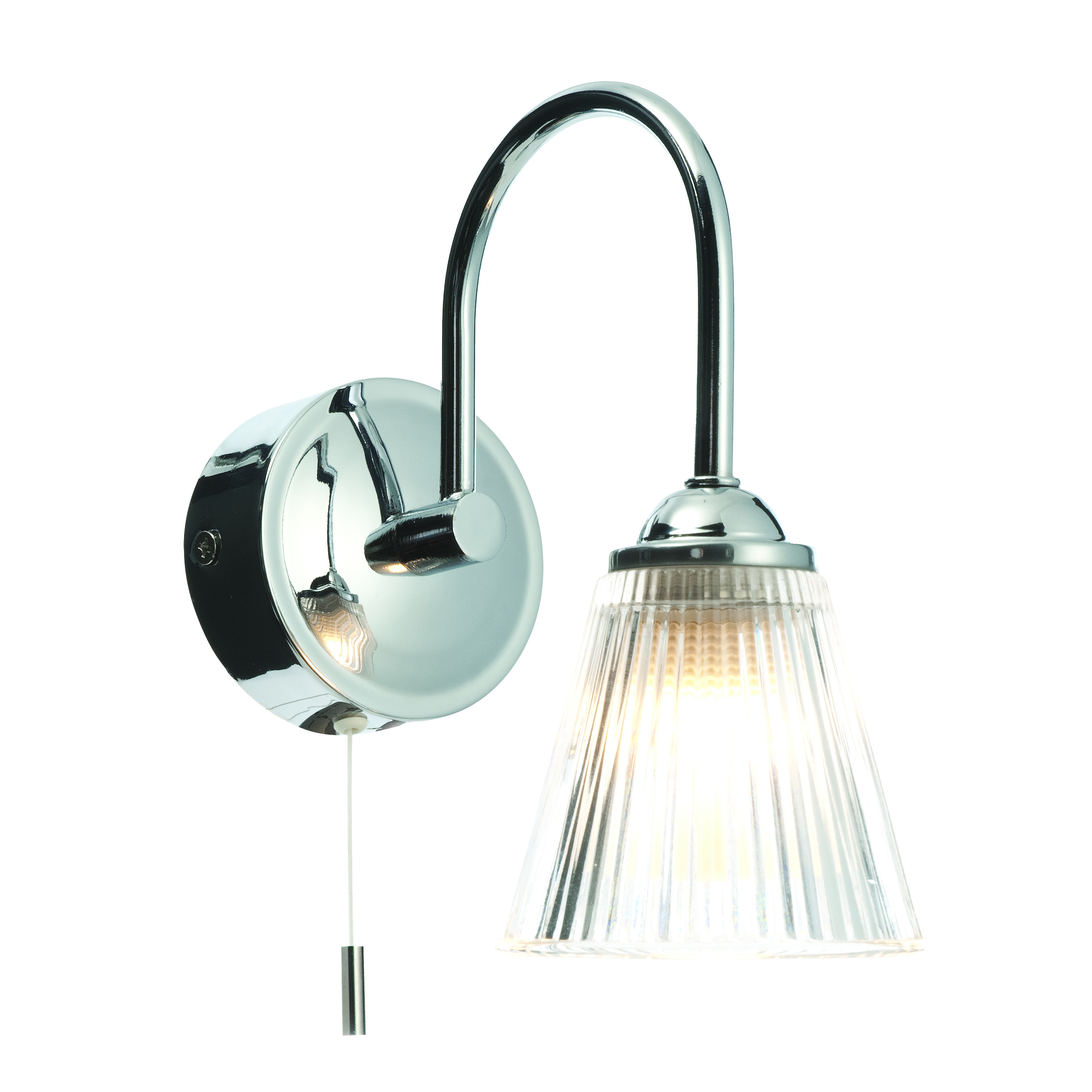 Modern Chrome and Ribbed Glass IP44 Bathroom Wall Light With Pull Cord Switch eBay