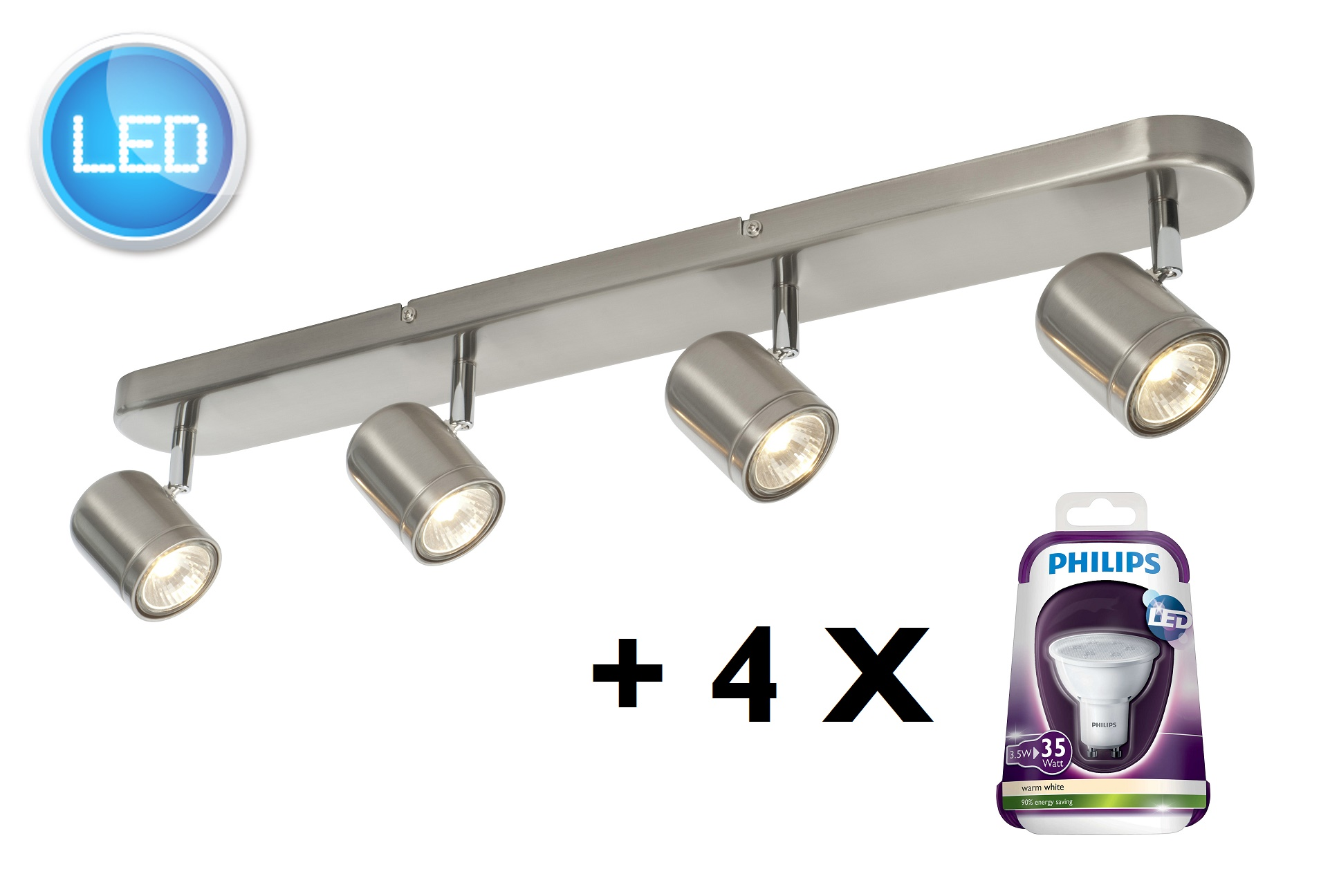 Philips Led Ceiling Lights Catalogues : Modern brushed chrome way ceiling spot light bar