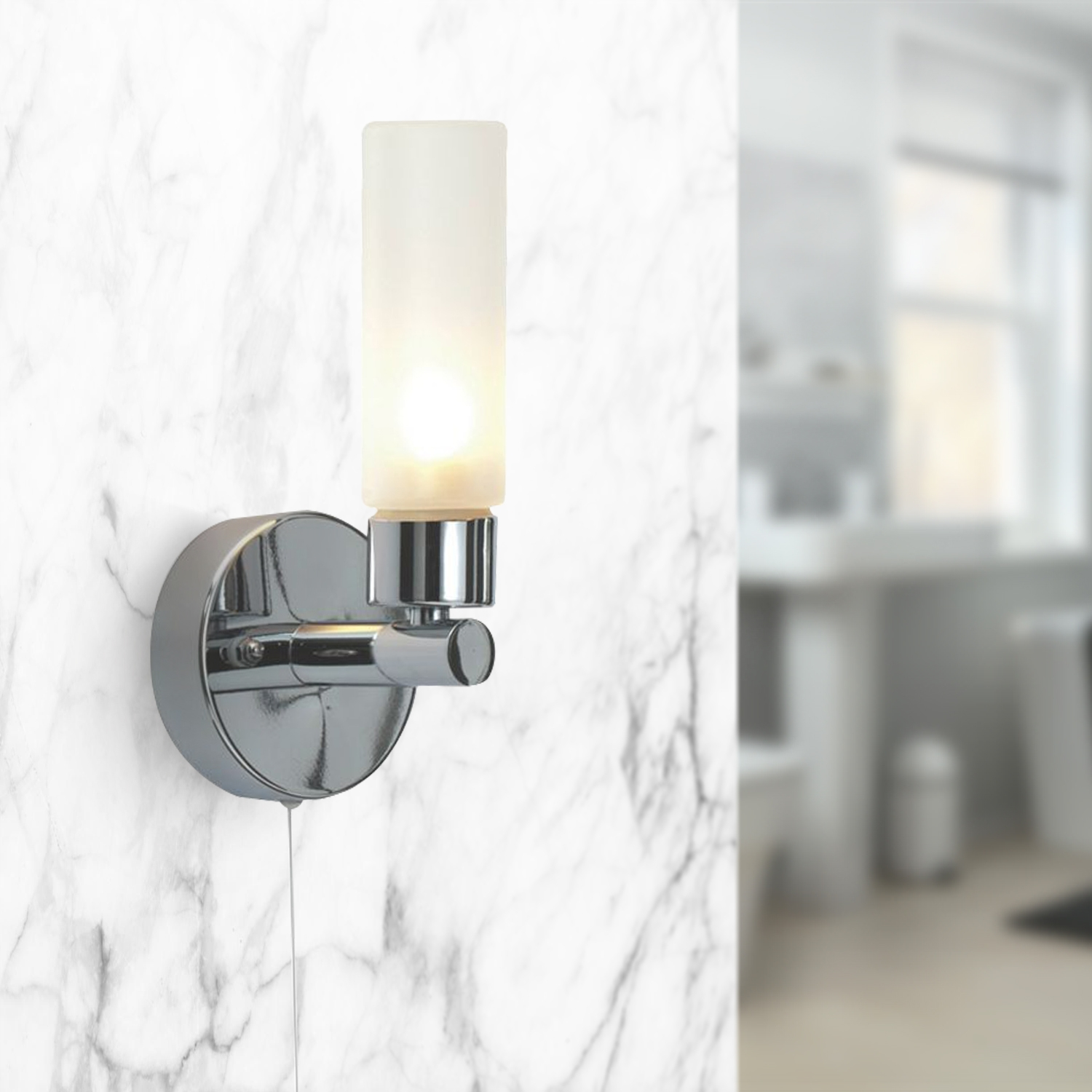Modern Polished Chrome Glass Ip44 Bathroom Wall Light With Pull Cord Switch 710560388677 Ebay