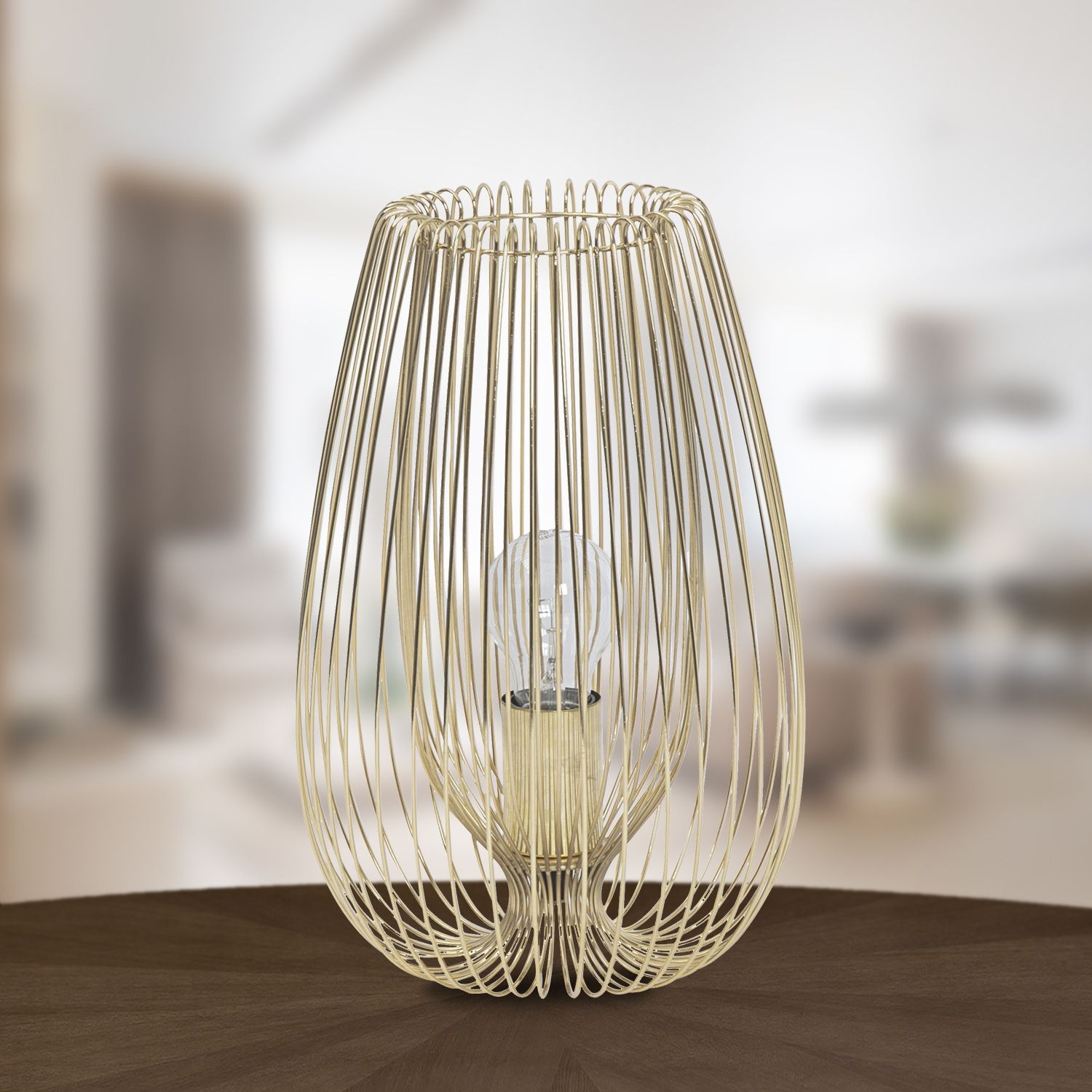 Contemporary Brushed Gold Metal Wire Table Lamp Bedside