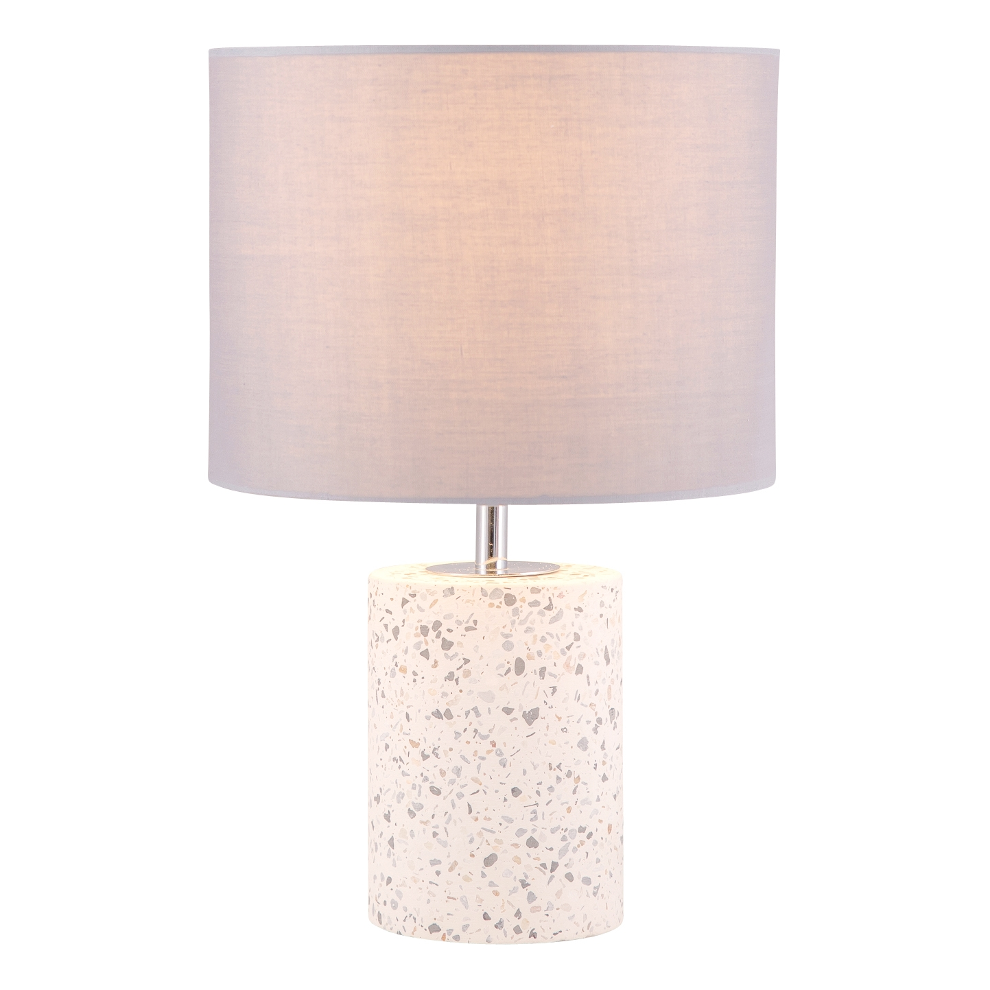 Details About Terrazzo White Concrete 32cm Bedside Light Table Lamp With Grey Fabric Shade