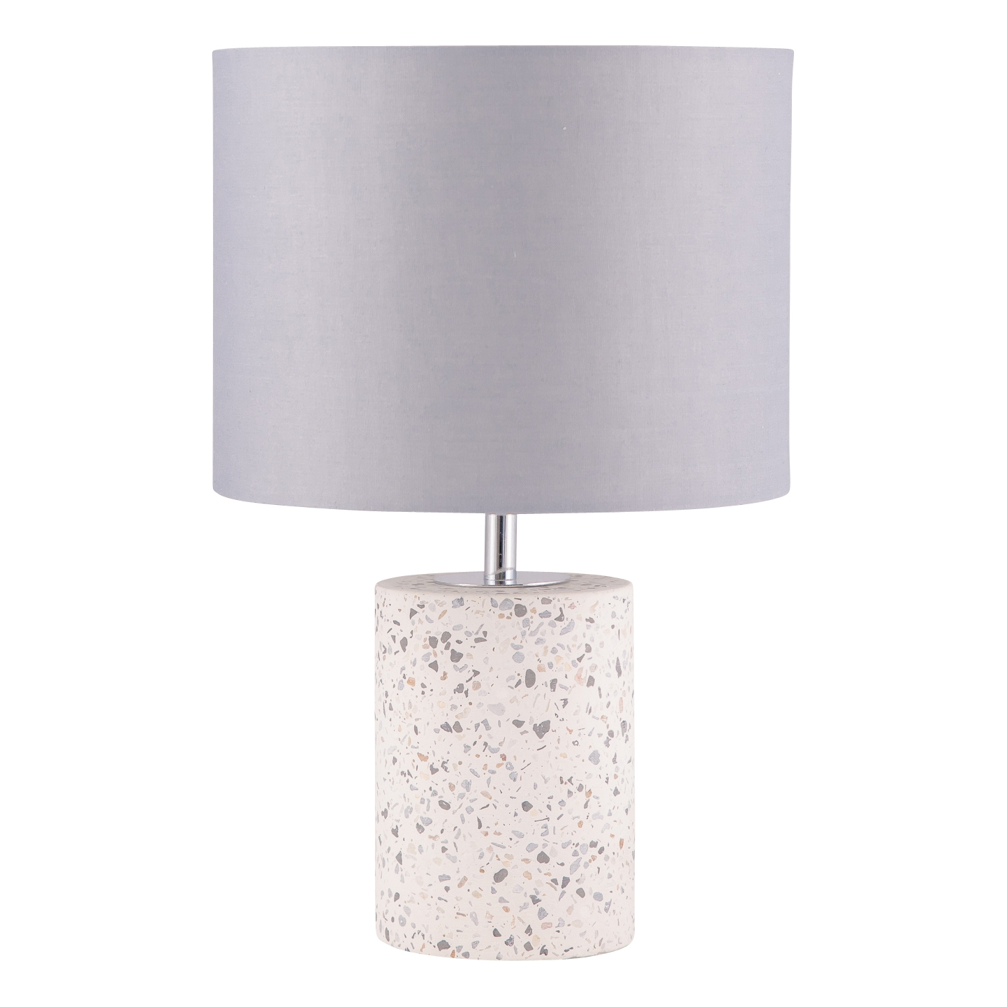 Pair Terrazzo White Concrete 32cm Bedside Light Table Lamp White Fabric Shade