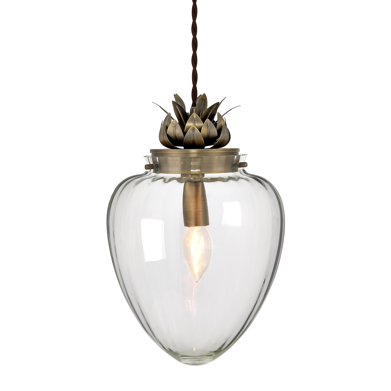 Modern Glass & Antique Brass Pineapple Ceiling Pendant