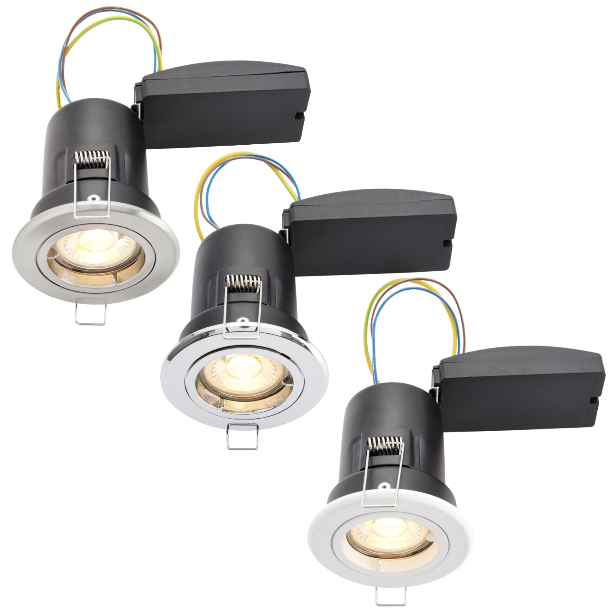 20 Aurora Enlite Fire Rated GU10 Downlight complete with LED Lamps FREE POSTAGE