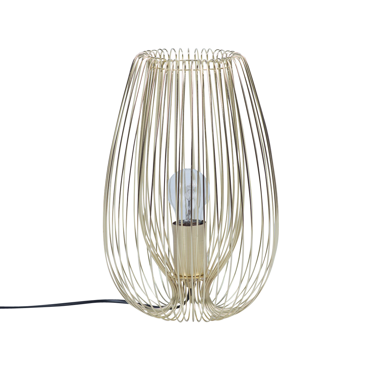Contemporary Brushed Gold Metal Wire Table Lamp Bedside Light Wiring Uk