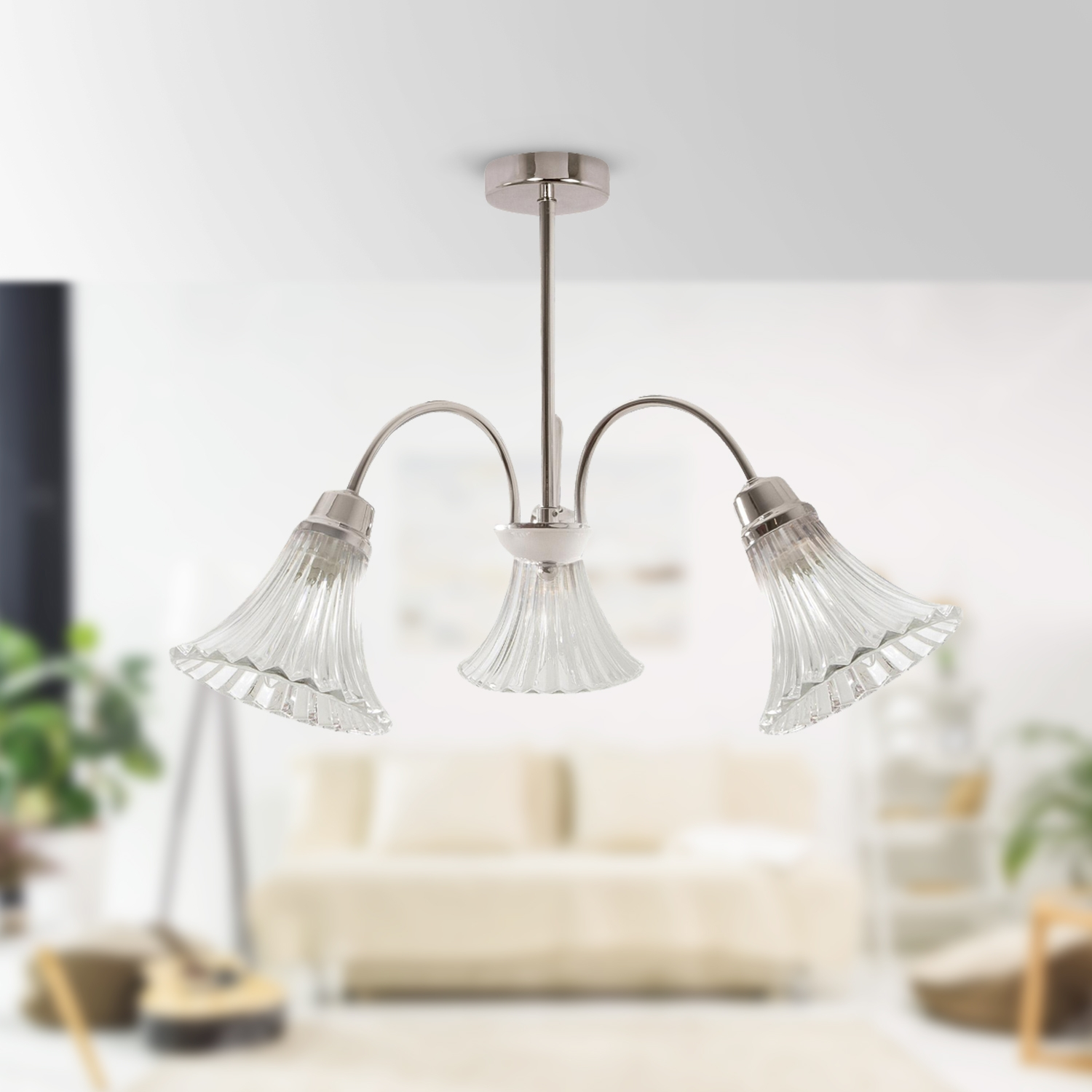 3 Bar Pendant Light Hanging Chrome Effect 3 Way Mounted: Modern Polished Chrome With Glass Shades 3 Way Ceiling