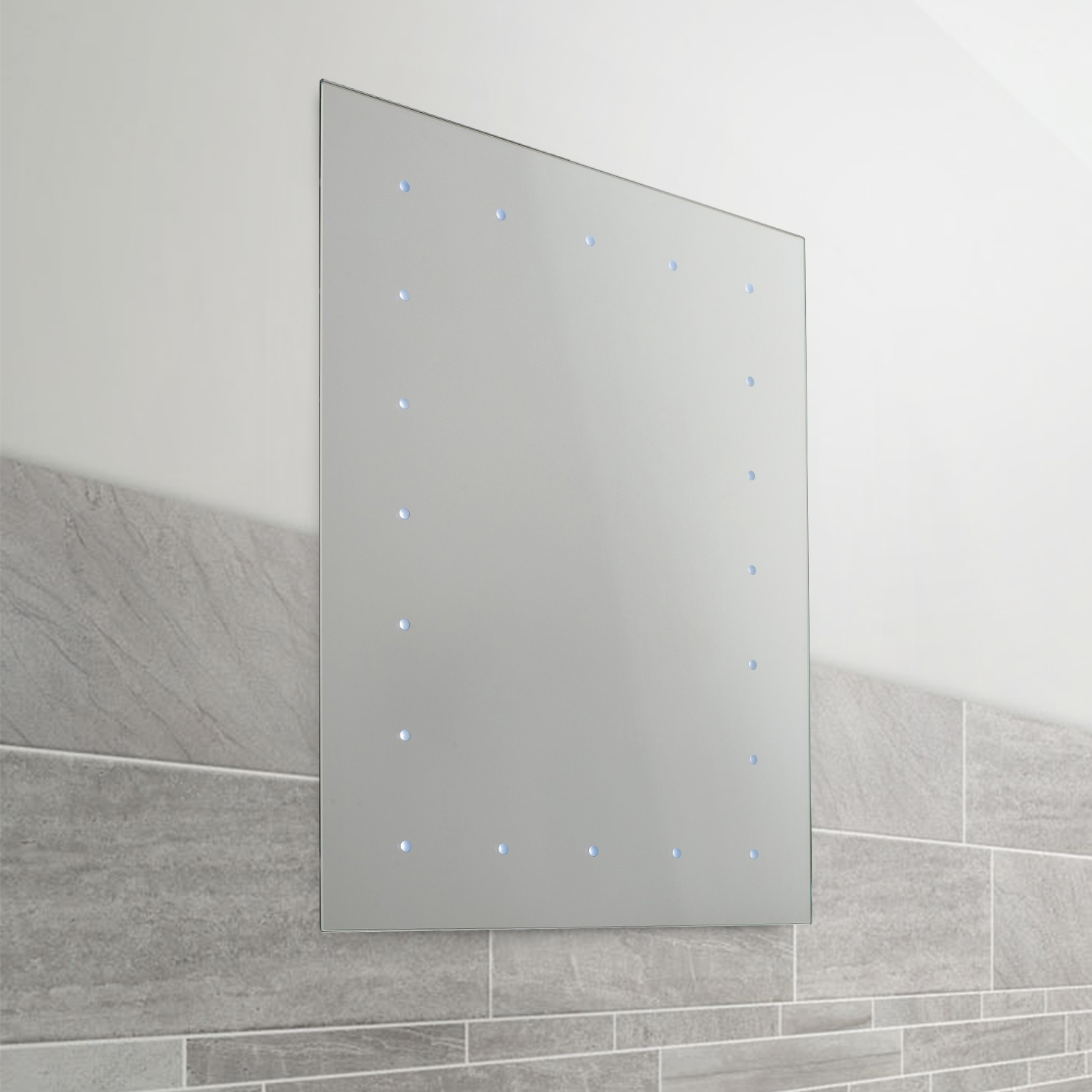 Battery Operated Led Illuminated Bathroom 600mm Mirror Ip44 No Wiring For Required 710560387519 Ebay