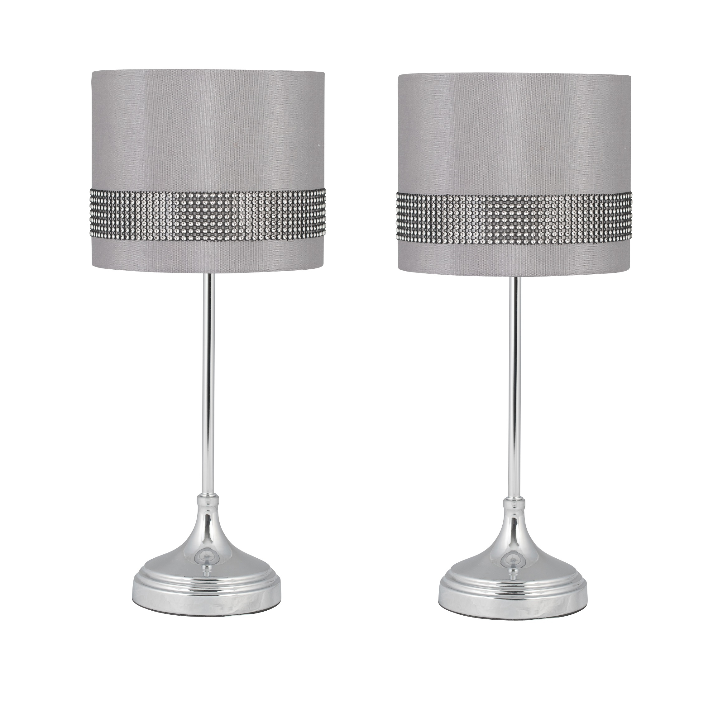 Modern Of Pair Alta Table Lamps Bedside Lights In Chrome W