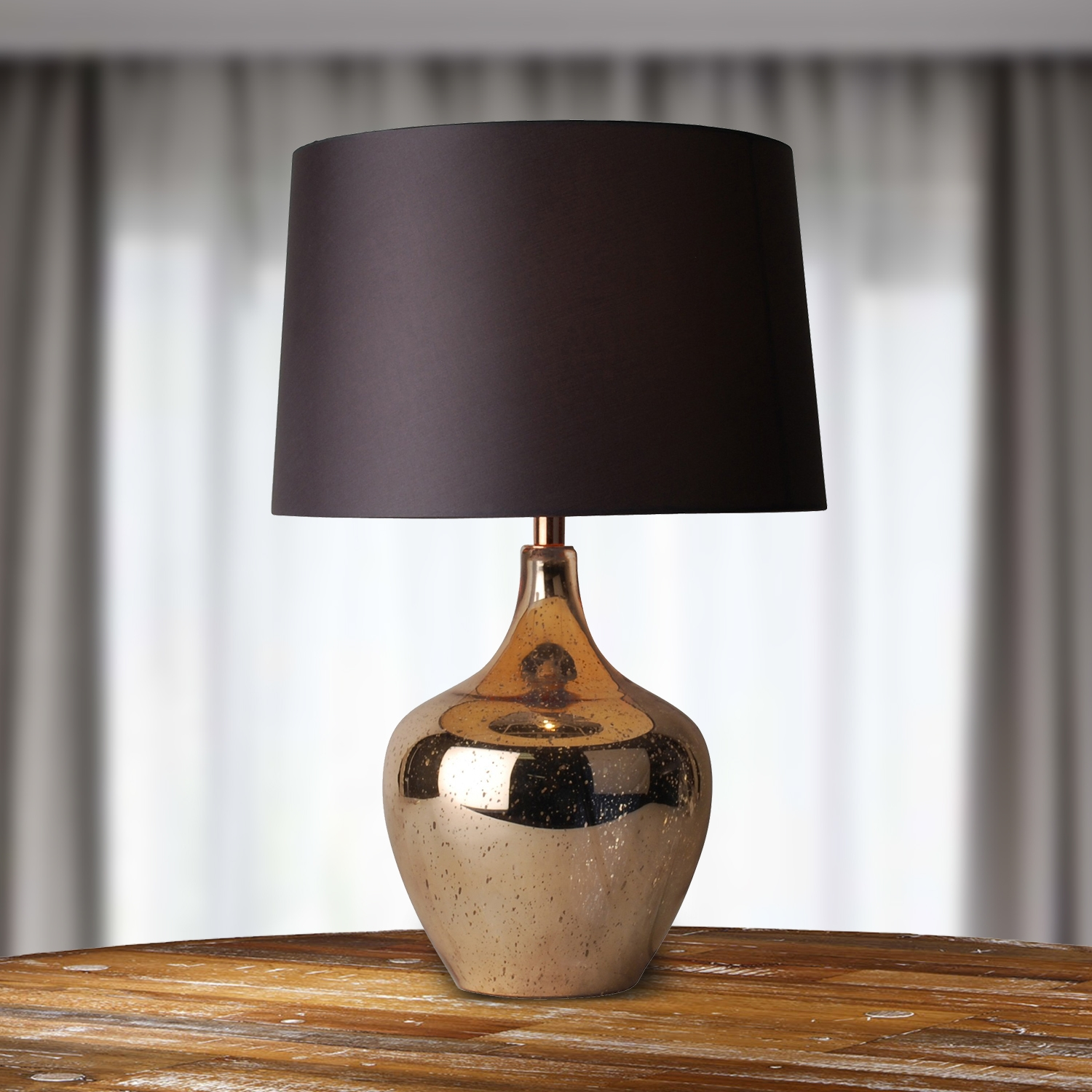 Modern Rose Gold Mercury Glass Table Lamp Bedside Light W
