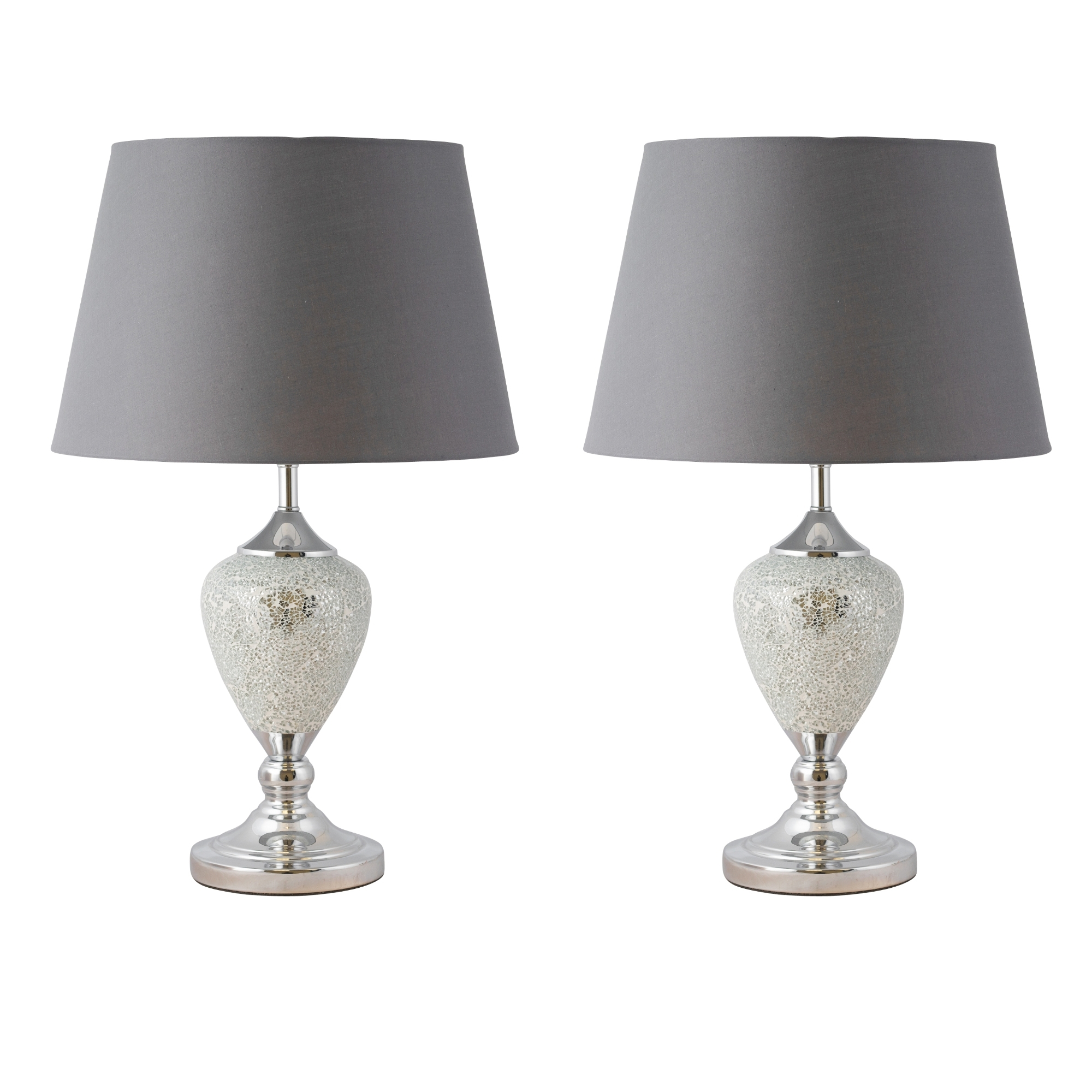 Pair Of Large Glam 59cm Chrome Mirrored Crackle Glass Grey Shade