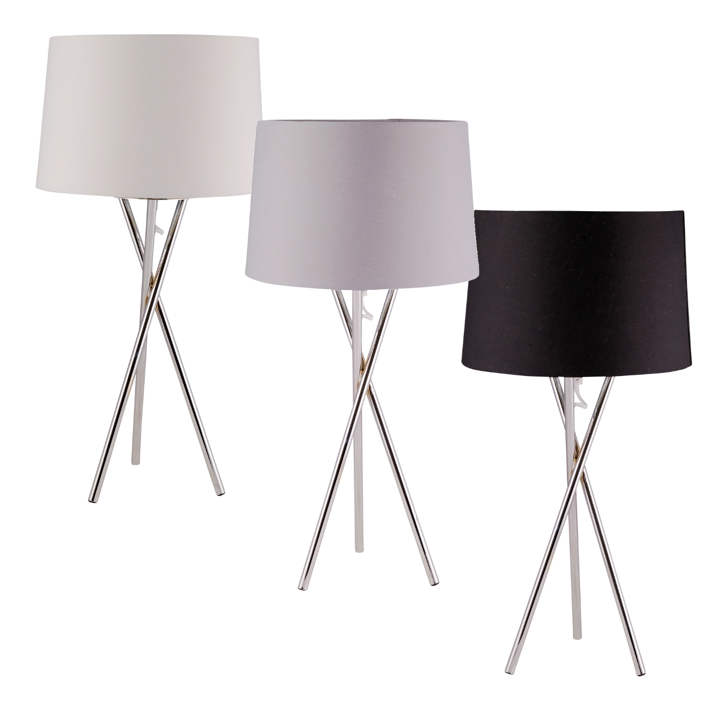 Modern Chrome Tripod Table Lamp Bedside Light With Grey