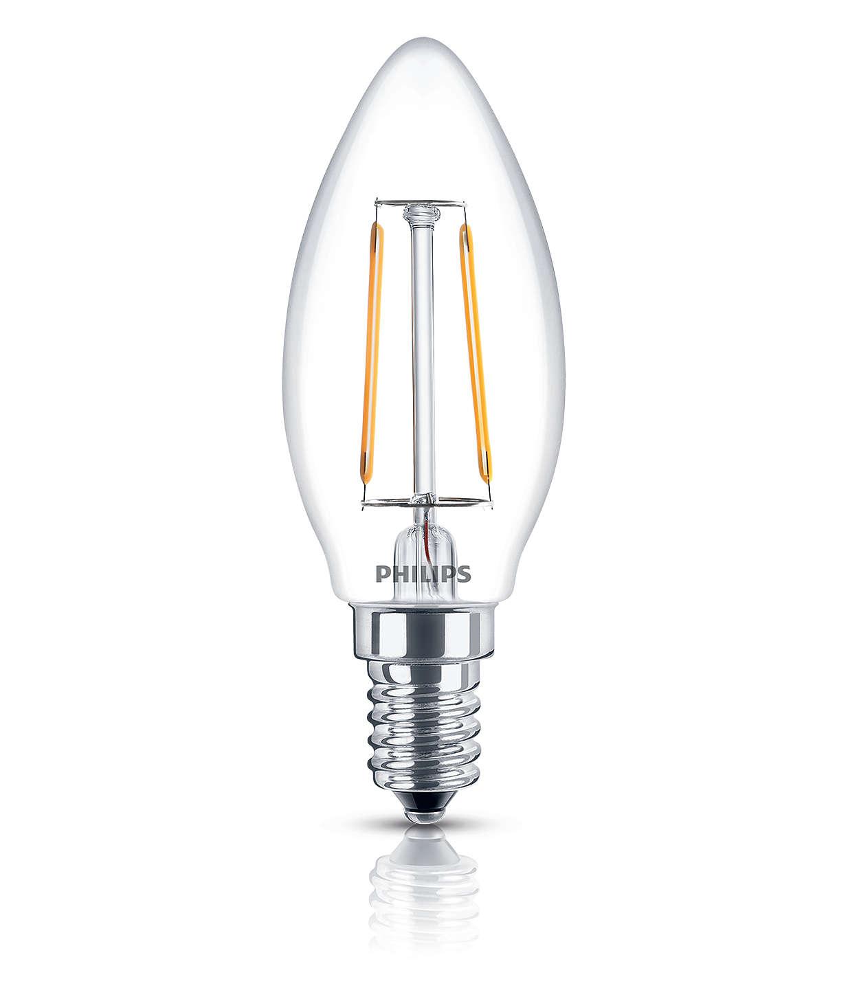 4 x Philips 2.3W 25W E14 SES Small Screw Candle LED Retro Lamp Bulb Warm White