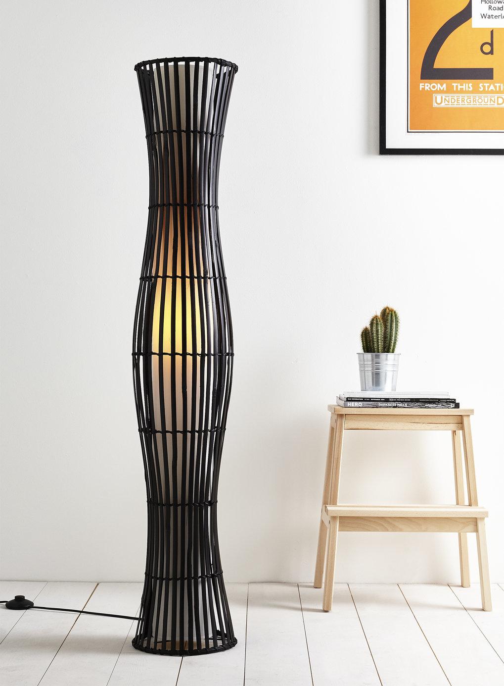 Tall Dark Brown Wicker And Fabric Floor Lamp Light Ebay