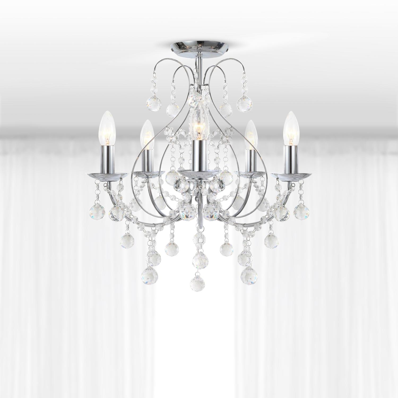Luxury Chrome Amp Crystal 5 Light Ceiling Chandelier Light