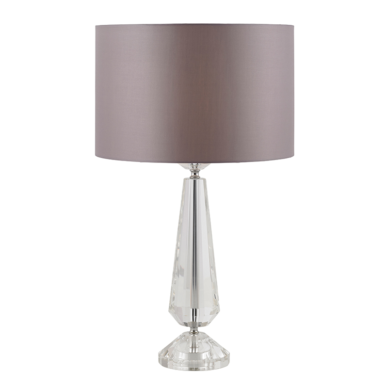 large modern glass bedside table light lamp crystal taupe. Black Bedroom Furniture Sets. Home Design Ideas