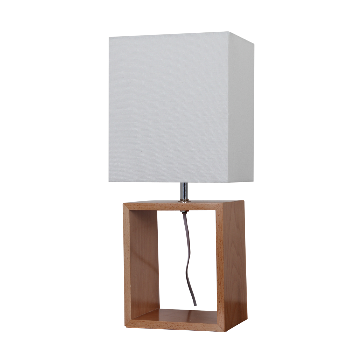 Pair Of Tall Modern Wooden Cube Shaped Bedside Table Lamps