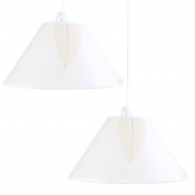 """Set of 2 14"""" (350mm) Natural Fabric Shades With Leaf Detailing"""