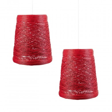 Set of 2 Red Wicker Easy Fit Light Shades