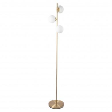 Satin Brass Floor Lamp with Opal Globe Shades