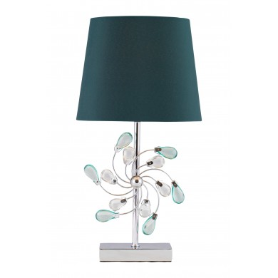 Chrome Table Lamp with Teal Fabric Shade