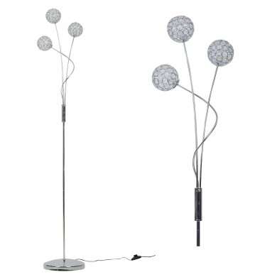 Chrome and Acrylic Crystal Shade Curving Floor Stand Lamp