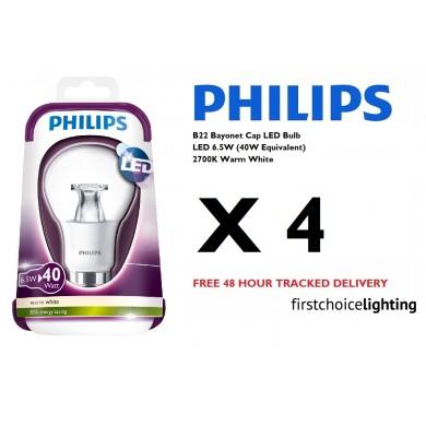 4 x Philips 6.5W (40W) B22 BC Bayonet Cap LED Lamps Bulbs 2700K Warm White