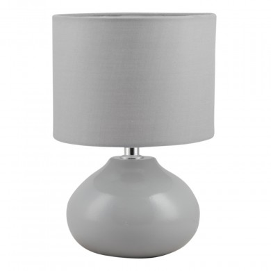 Owen Grey Ceramic 24cm Table Lamp Bedside Light With Matching Shade