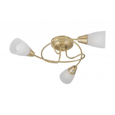 Antique Brass Swirl 3 Light Ceiling Fitting with Opal Glass Shades